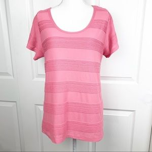 LuLaRoe Pink Striped Short Sleeve Shirt